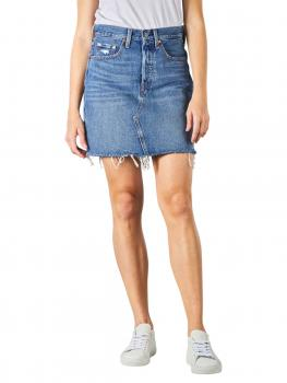 Image of Levi's High Rise Deconstructed Buttin Fly Skirt stuck into