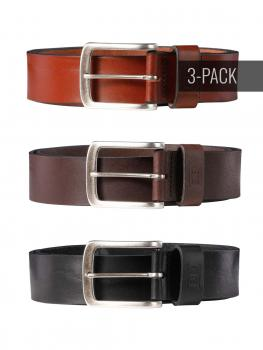 Image of Frank cognac/dark brown/black 40mm Trio by BASIC BELTS