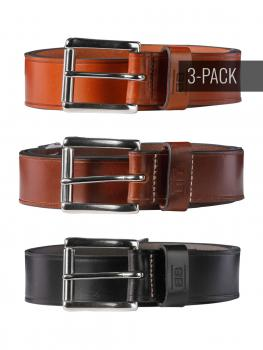 Image of Pat black/brown/cognac 40mm Trio by BASIC BELTS