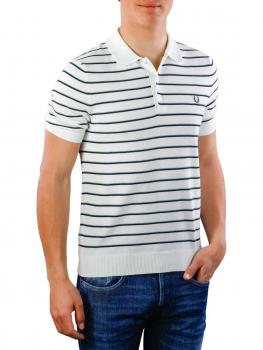 Image of Fred Perry Fine Stripe Knitted Shirt snow white