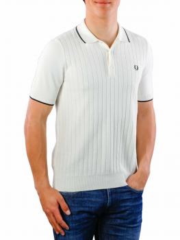 Image of Fred Perry Textured Front Knitted Shirt light ecru