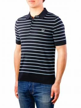 Image of Fred Perry Fine Stripe Knitted Shirt navy