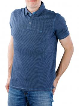 Image of Fynch-Hatton Polo Finestripe Slub Jersey pacific-navy
