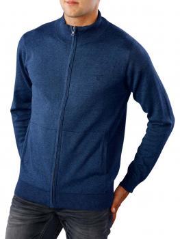 Image of Gant Light Weight Cotton Zip Cardigan dark jeansblue melange