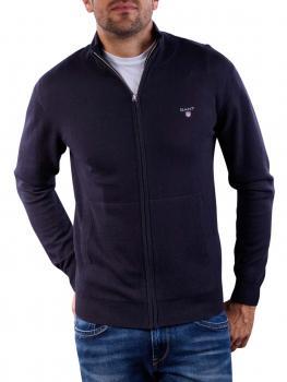 Image of Gant Cotton Wool Zip Cardigan navy