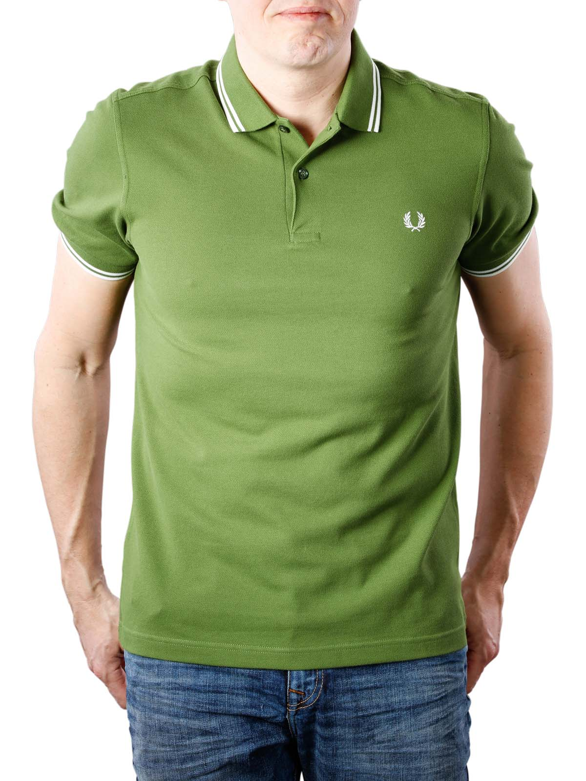 4de41f19 Fred Perry Twin Tipped Polo Shirt verde/white ...