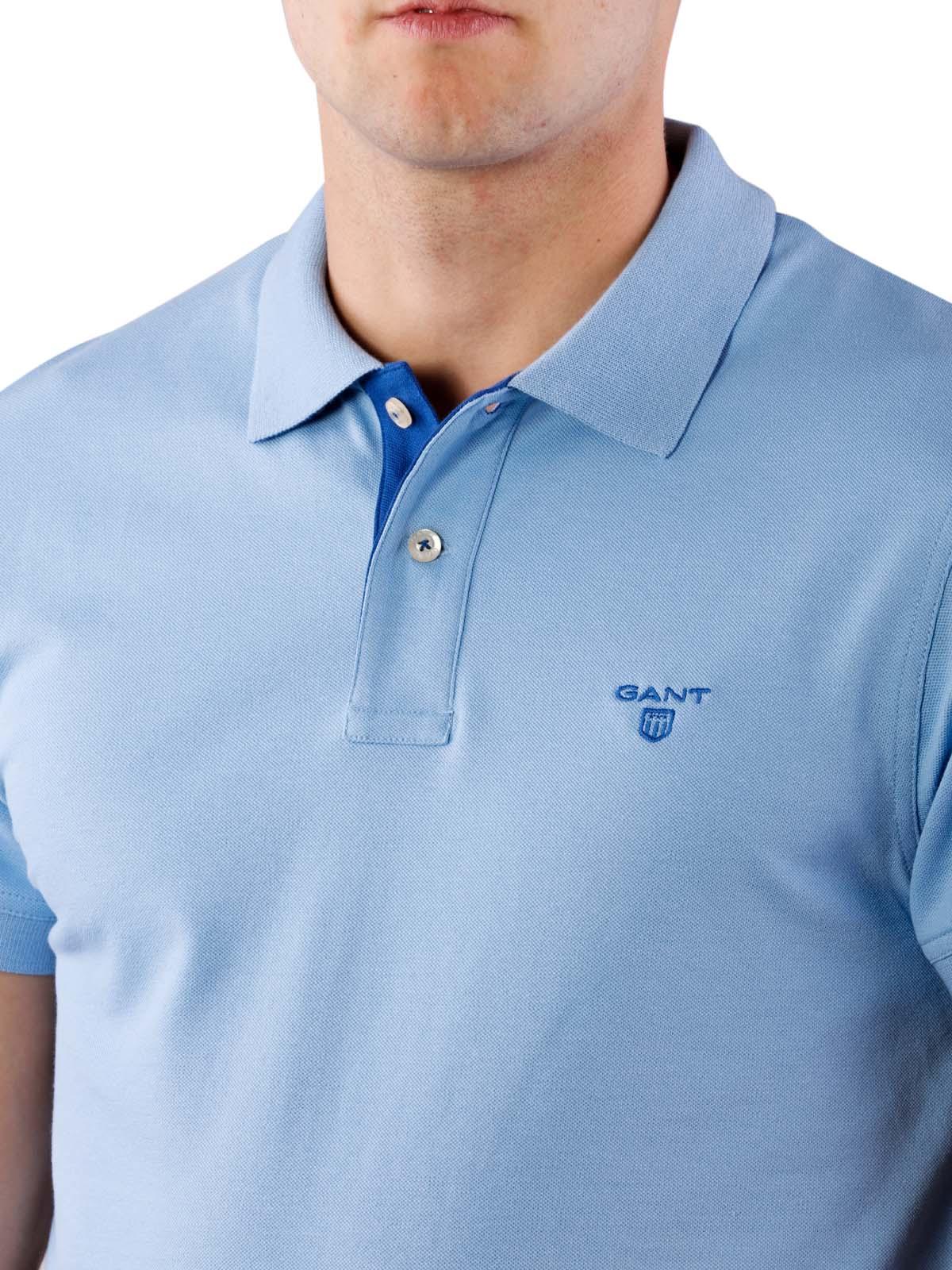 new style 107f8 abb82 Gant Contrast Collar Piqué SS Rugger capri blue